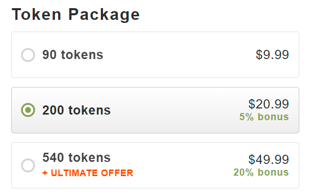 token package on Stripchat